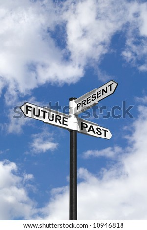 Concept image of Future Past & Present on a signpost against the sky. - stock photo
