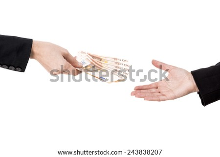 Concept image of hands making and receiving a payment, isolated over white background - stock photo