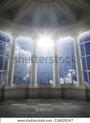 concept image of heaven, place at sky. - stock photo
