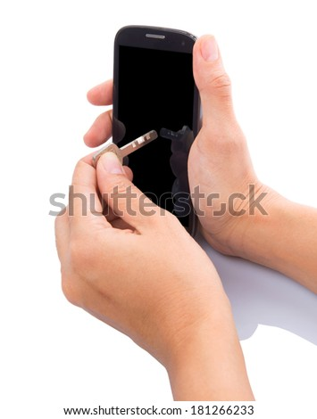 Concept image of holding key to secure data in in a smartphone - stock photo