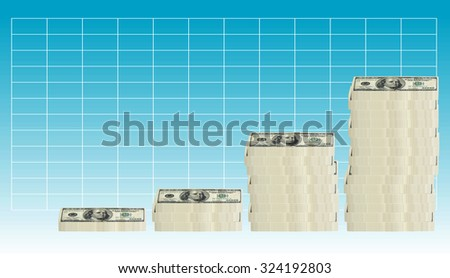 concept image of 100 hundred dollar bills stacked in various groupings of different heights in a graph formation - stock photo