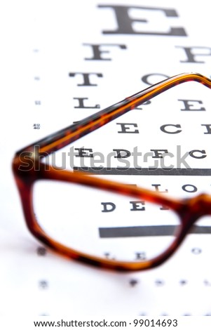 concept image of optometry,close up at eye chart - stock photo