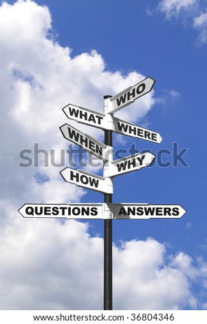 Concept image of the six most common questions and answers on a signpost. - stock photo