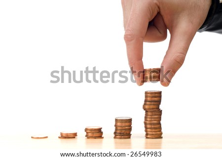 Concept image of the stock market going up, isolated against a white background - stock photo