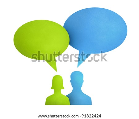 Concept image on communication theme between people used bright colored speech bubbles. Isolated on white. - stock photo