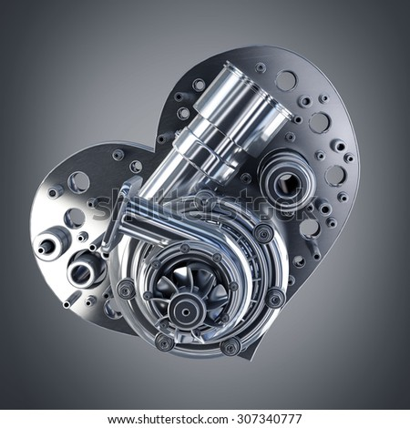 concept. iron heart turbocharger of car. High resolution 3d - stock photo