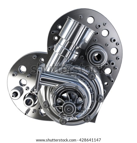 concept. iron heart turbocharger of car isolated on white background. High resolution 3d - stock photo