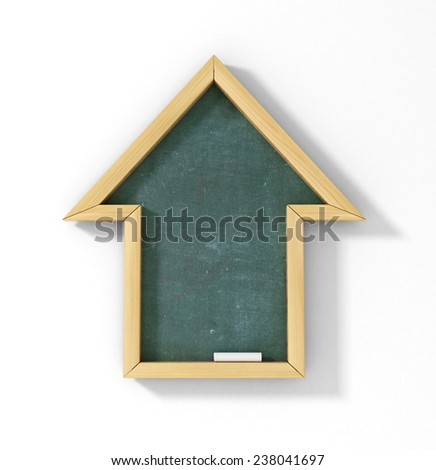 Concept learning at home. School board in the form of an house. Homework. - stock photo