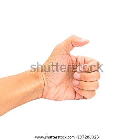 Concept man showing thumb finger hand isolated on white - stock photo