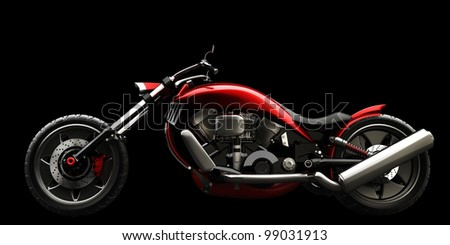 concept motorcycle isolated on black background (No trademark issues is my own design) High resolution 3D - stock photo