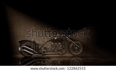 concept motorcycle (No trademark issues is my own design) sepia tone. High resolution 3D - stock photo