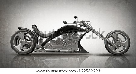 concept motorcycle (No trademark. it is design and the 3d model completely exclusive it is developed and made personally me) High resolution 3D - stock photo