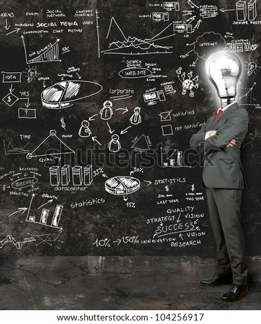 Concept of a businessman that reflect on new ideas - stock photo