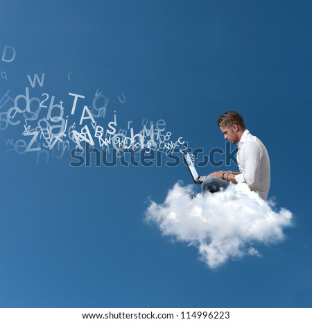 Concept of a businessman that works over a cloud - stock photo