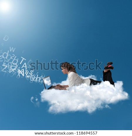 Concept of a businesswoman that works over a cloud - stock photo