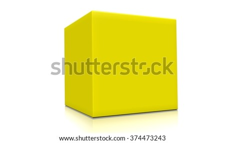 Concept of a 3d yellow box isolated on white background. Rendered illustration.  - stock photo