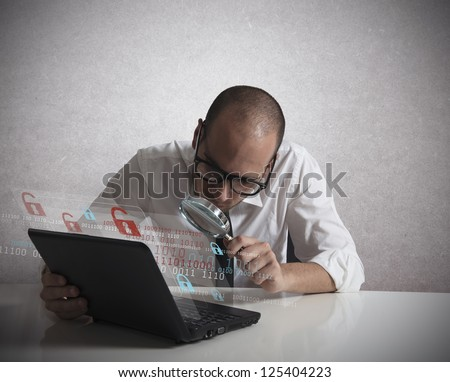 Concept of a hacker programmer that analyze software - stock photo