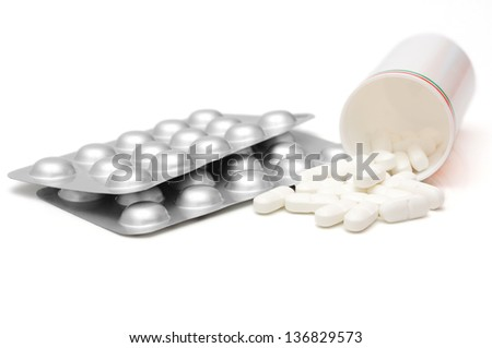 concept of addiction with drugs with pills,blisters and bottle - stock photo