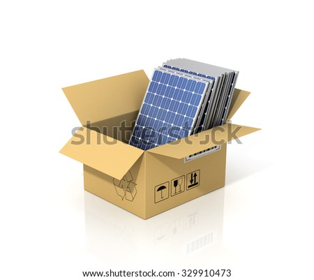 Concept of alternative energy. Stack of solar battery panels in the cardboard box. Enviroment protection. - stock photo