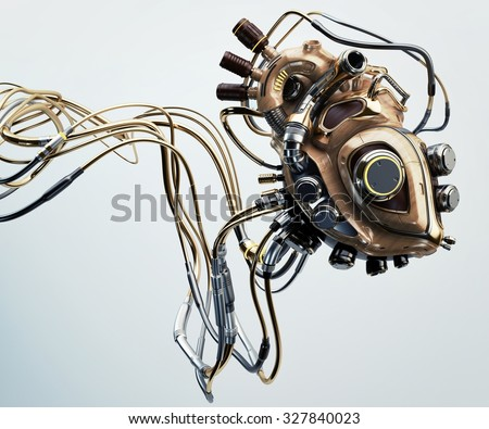 Concept of artificial wooden robotic heart with metal parts and many wires connected / Wooden robotic heart  - stock photo