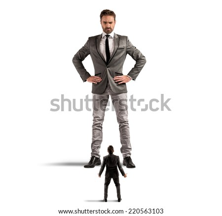 Concept of authority abuse by the boss in  a office - stock photo