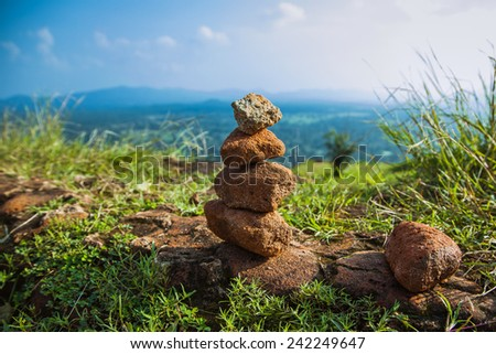 Concept of balance and harmony. Rocks on the mountains  in the nature, Sri Lanka  - stock photo