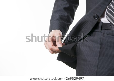 Concept of bankruptcy - empty pocket on a white background. - stock photo