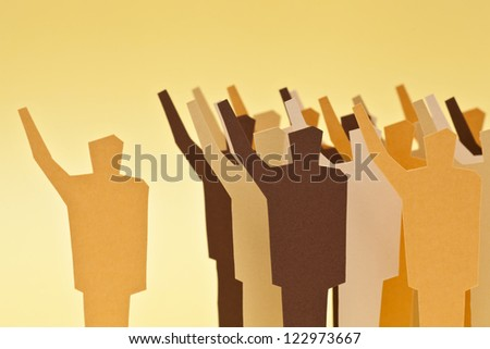 Concept of being on agreement with the crowd - stock photo