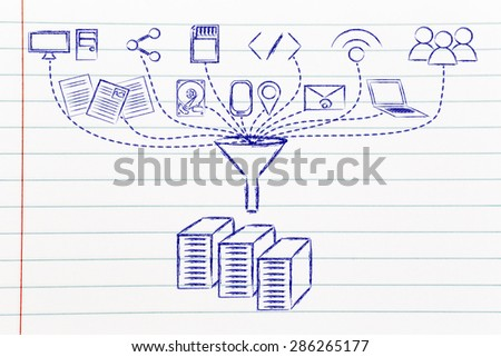concept of big data processing and transfers: users, devices and file storage - stock photo