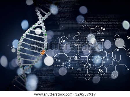 Concept of biochemistry with dna molecule on blue background - stock photo