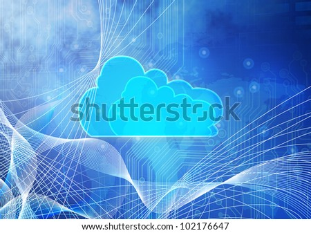 Concept of Blue cloud computing. - stock photo
