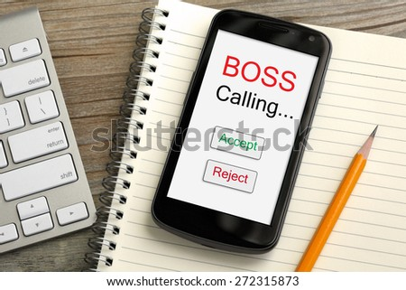 concept of boss calling, accept or reject decision - stock photo