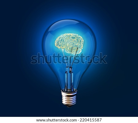 Concept of brain in a lightbulb. 3D image - stock photo