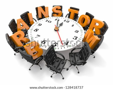 Concept of  brainstorm. Circle table as clock and armchairs. 3d - stock photo