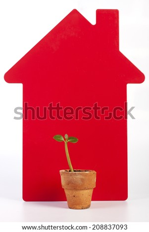 Concept of Building a Home for a Sustainable Environment - stock photo