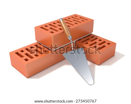 Concept of building the brick wall, made of perforated ceramic bricks - stock photo