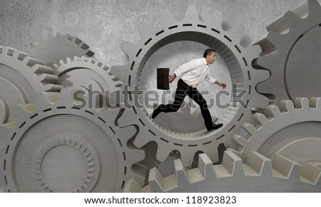 Concept of business in action - stock photo