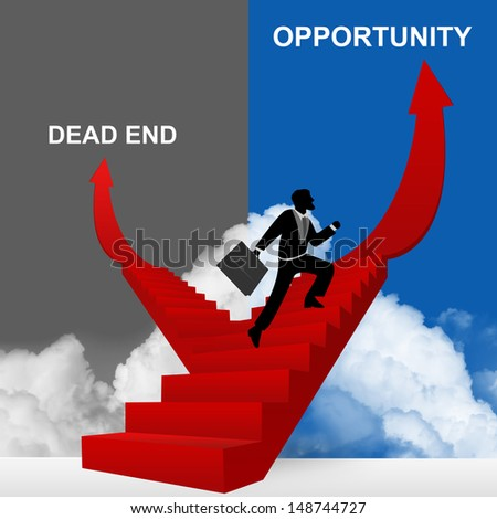 Concept of Business Solution Present By Opportunity and Dead End Stairway With The Businessman Step Up to Top of The Arrow in Blue and Gray Sky Background - stock photo