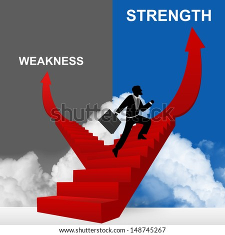 Concept of Business Solution Present By Strength and Weakness Stairway With The Businessman Step Up to Top of The Arrow in Blue and Gray Sky Background - stock photo