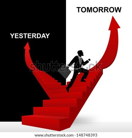 Concept of Business Solution Present By Tomorrow and Yesterday Stairway With The Businessman Step Up to Top of The Arrow in Black and White Background - stock photo