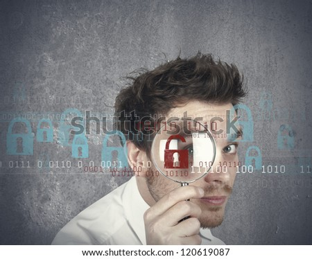 Concept of businessman that searches  virus - stock photo