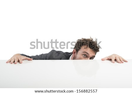 Concept of businessman with fear of the boss - stock photo