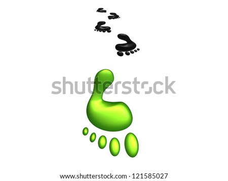 Concept of Carbon Footprint going in the direction of sustainability and green design - stock photo