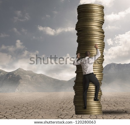 Concept of career and ambition at work - stock photo