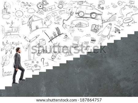 Concept of Career and ambition of a businessman - stock photo