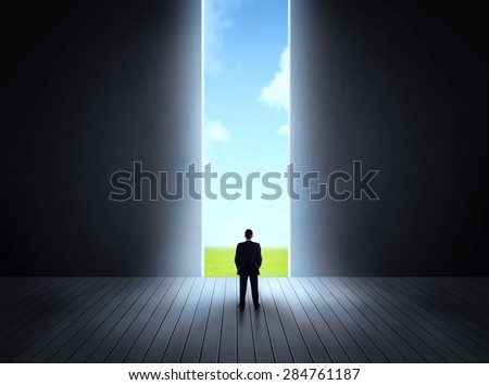 Concept of career and freedom of nature with a bright open gate - stock photo