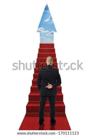 concept of career steps with a man crossing his fingers at the bottom of the steps - stock photo