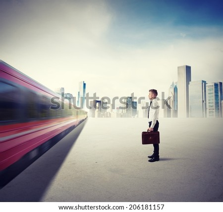 Concept of career with fast train in the city - stock photo