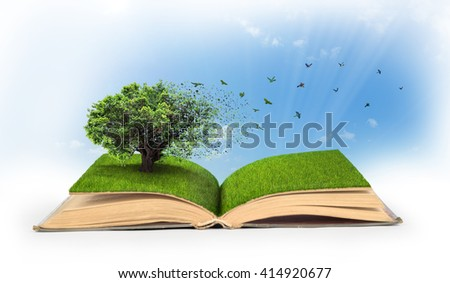Concept of changes. Open book full of grass with a tree that turns into a birds. - stock photo