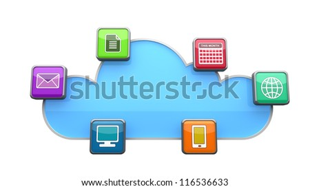 Concept of cloud computing with data to and from the cloud. - stock photo